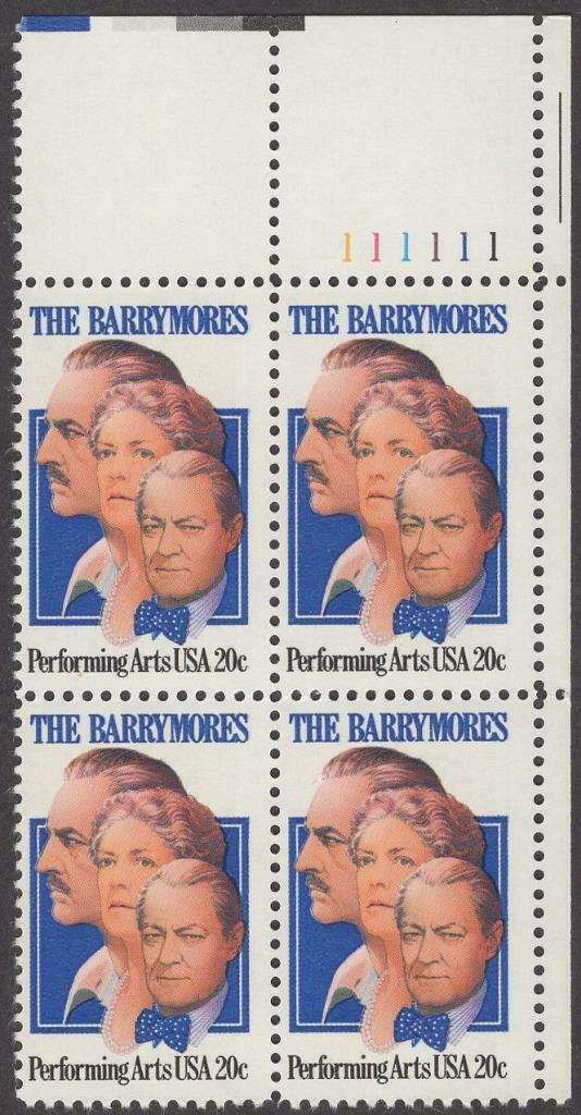 1982 The Barrymores Performing Arts Plate Block of 4 20c Postage Stamps - MNH, OG - Sc# 2012