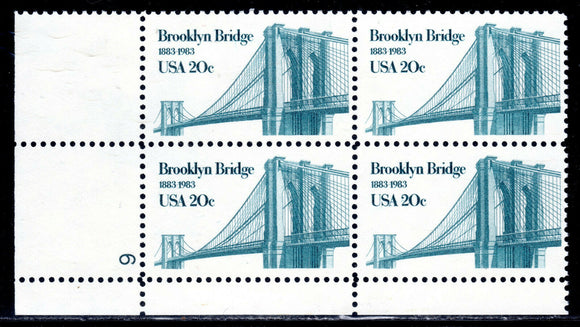 1983 Brooklyn Bridge Plate Block Of 4 20c Postage Stamps - Sc# 2041 - MNH, OG - CW249b