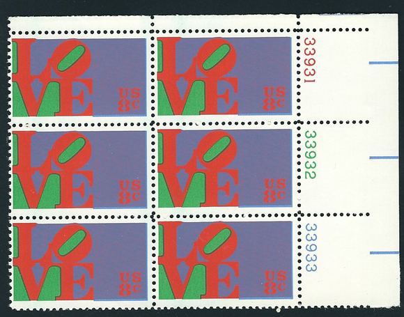 1973 Love Plate Block of 6 8c Postage Stamps - MNH, OG - Sc# 1475