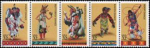 1996 Native American Indian Dances Strip Of 5 32c Postage Stamps Sc# 3072-3076 - MNH, OG - CW265