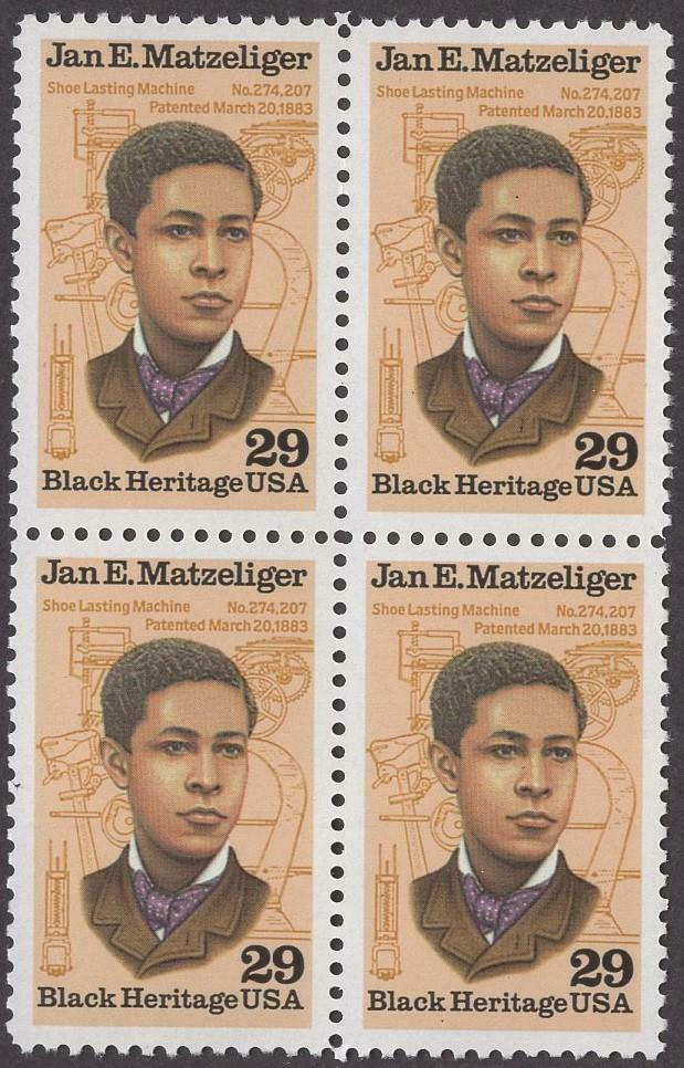 1991 - Jan E. Matzeliger Block Of 4 29c Postage Stamps - MNH - Sc# 2567 - CW393a
