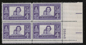 1960 - The American Woman Plate Block of 4 4c Postage Stamps - Sc# - 1152 - MNH, OG - CX676