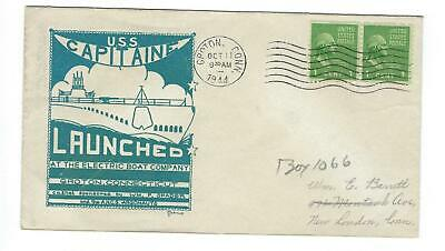 VEGAS - 1944 Submarine USS Capitaine Launch Herald Cover - Groton - ES81