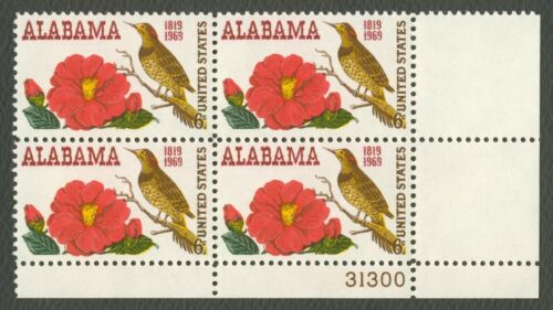 1969 Alabama Statehood Plate Block Of 4 6c Postage Stamps - MNH, OG - Sc# 1375 - CX360