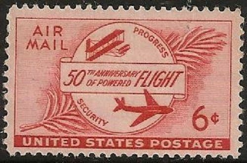 1953 Powered Flight Airplanes Single 6c Postage Stamp - Sc# C47 - MNH - (CW381)