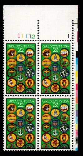 1987 Girl Scouts Plate Block Of 4 22c Postage Stamps - Sc 2251 - MNH, OG - CX868a