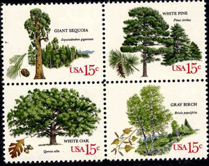 1978 USA Trees Block Of 4 15c Postage Stamps - Sc 1764-1767 - CW207a