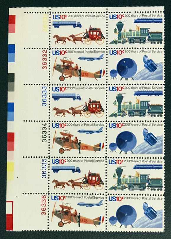 1975 Postal Service Bicentennial Plate Block of 12 10c Postage Stamps - Sc# -1572-1575 - MNH, OG - CX669a