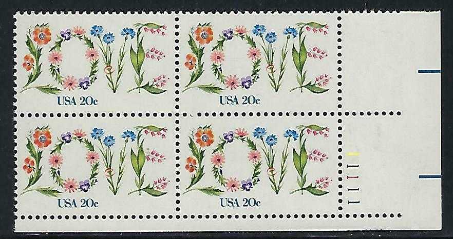 1982 Love Plate Block of 4 20c Stamps - MNH, OG - Scott# 1951 - CX897