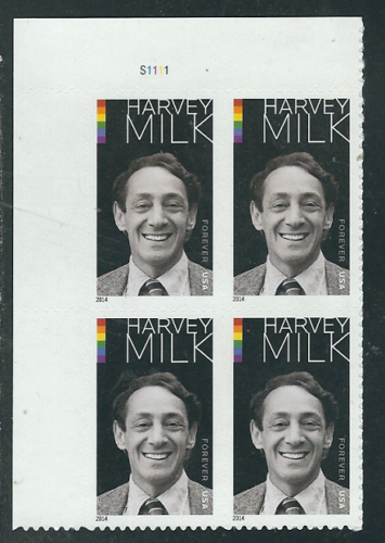 2014 Harvey Milk Plate Block of 4 49c Postage Stamps - MNH, OG - Sc# 4906