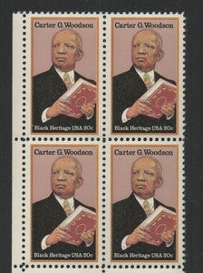 1984 - Carter G. Woodson Block Of 4 20c Postage Stamps - MNH - Sc# 2073 - CW386a