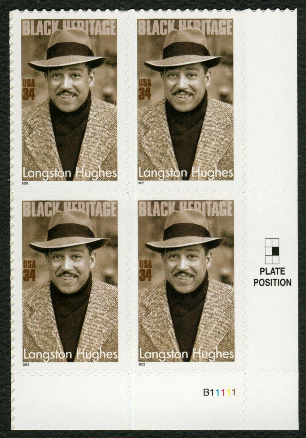 2002 Langston Hughes Plate Block Of 4 34c Postage Stamps - Sc# 3557 - DM171
