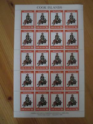 VEGAS - 1982 Cook Islands RARE Full Sheet - Sc# 686 Rockwell - MNH, OG - (CS71)