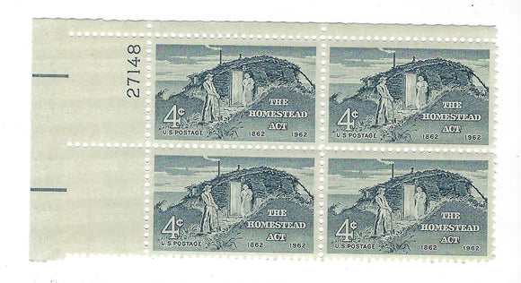 1962 Homestead Act Plate Block Of 4 4c Postage Stamps - MNH, OG - Sc# 1198`- CX206