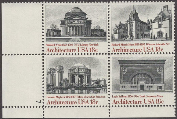 1981 Architecture Plate Block Of 4 18c Postage Stamps - Sc# 1928-1931 - MNH, OG - CW12a