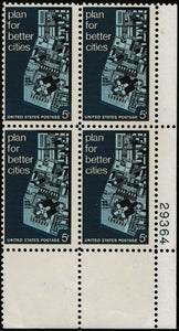1967 Plan For Better Cities Plate Block of 4 5c Postage Stamps - MNH, OG - Sc# 1333