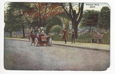 Est 190X Britain Picture Postcard - Victoria Park, Bath -Early Automobile (AL60)