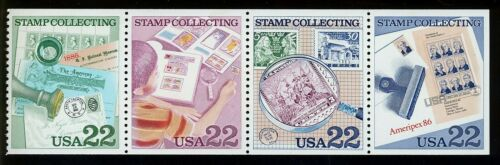 1986 USA Stamp Collecting Booklet Pane of 4 22c Postage Stamps - MNH, OG - Sc# 2198-2201 - CX402