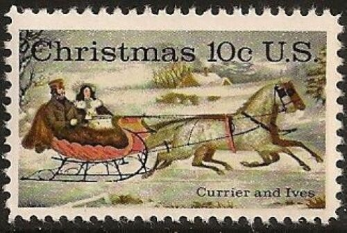 1974 Currier & Ives Christmas The Road Winter Single 10c Postage Stamp - Sc 1551 - MNH - CW423e
