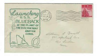 VEGAS - 1944 USA Submarine Blueback Launch Spader Cover, Groton, CT - FD276