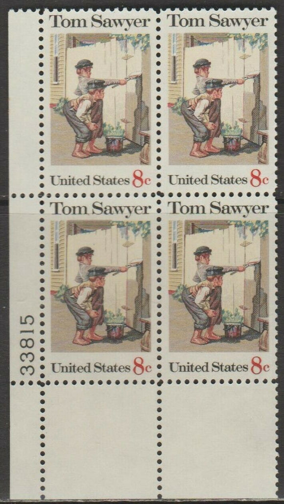 1972 - Tom Sawyer Plate Block of 4 8c Postage Stamps - Sc# 1470 - MNH, OG - CX514