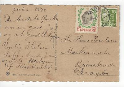 1942 Denmark Postcard With Christmas Cinderella Stamp (CF46)