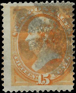 VEGAS - 1873 USA Sc# 163 15c Webster - Used - Jumbo - No Sig Flaws - EG52