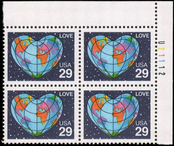 1991 Love Heart Shaped Globe Plate Block of 4 29c Postage Stamps - MNH, OG - Sc# 2535