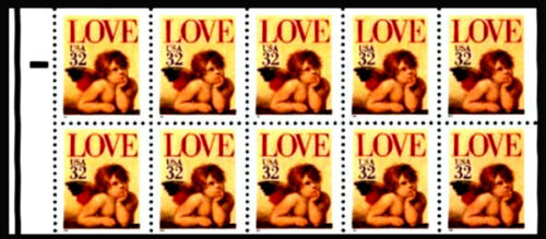 1995 Love Cupid Valentine's Booklet Pane of 10 32c Postage Stamps - MNH, OG - Sc# 2959