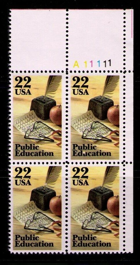 1985 Public Education Plate Block of 4 22c Postage Stamps - MNH, OG - Sc# 2159
