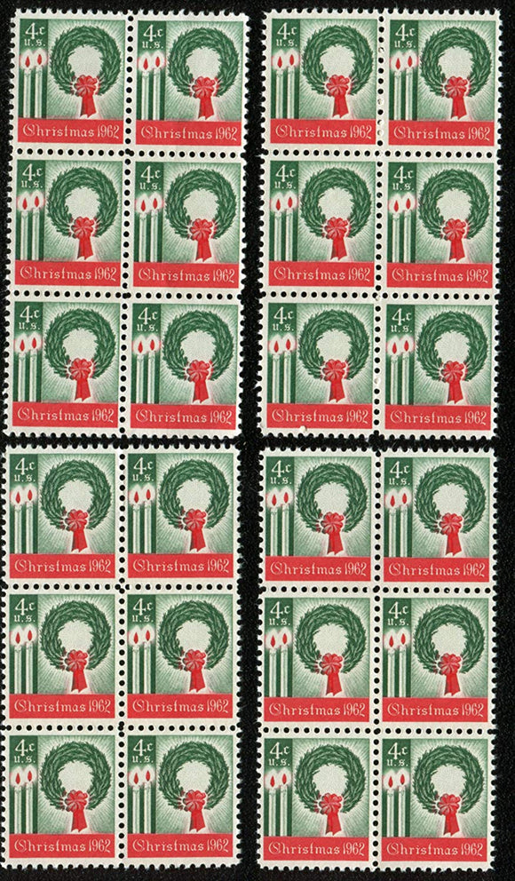 1962 Christmas Wreath For Decorating/Mailing Block Of 24 4c Postage Stamps - Sc 1205 - MNH - CT83c