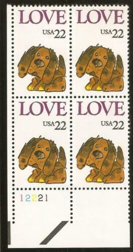 1986 Puppy Love Plate Block Of 4 22c Postage Stamps - Sc 2202 - MNH, OG - CX872a