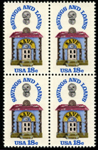1981 Savings and Loan Block Of 4 18c Postage Stamps - Sc 1911 - MNH - CW475a