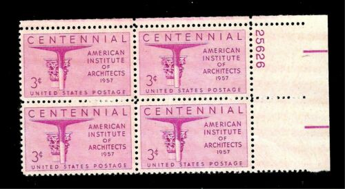 1957 American Institute Of Architects Plate Block of 4 3c Postage Stamps - MNH, OG - Sc# 1089
