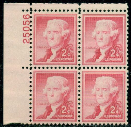 1954-68 Thomas Jefferson Plate Block Of 4 2c Postage Stamps - Sc# 1033 - MNH, OG - CX567