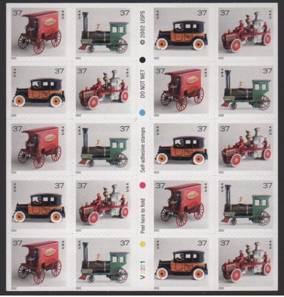 2002-2003 Antique Toys Booklet Of 20 37c Postage Stamps - MNH, OG - Sc# 3642 - 3645e - CX81