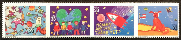 2000 - Stampin' The Future Space Strip Of 4 33c Postage Stamps - Sc# 3414-3417 - MNH, OG - DC124