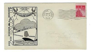 VEGAS - 1944 USA Submarine Blackfin Launch Herald Cover, Groton, CT - FD272