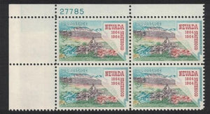 1964 Nevada Statehood Plate Block Of 4 5c Postage Stamps - MNH, OG - Sc# 1248 - CX223