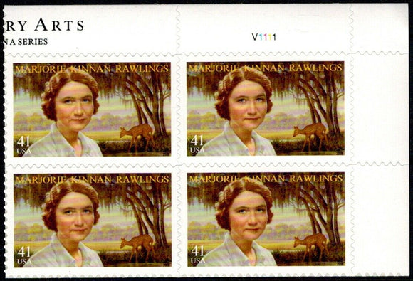 2008 Marjorie Rawlings Plate Block of 4 41c Postage Stamps - Scott# 4223 - MNH, OG - DC106
