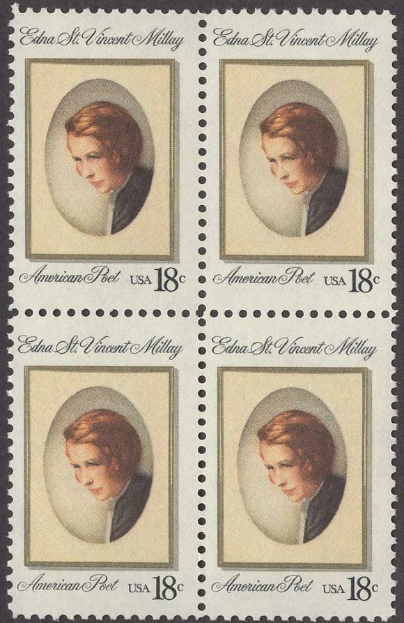 1981 Edna Millay, Poet Playwright Block Of 4 18c Postage Stamps - Sc 1926 - MNH - CW476b