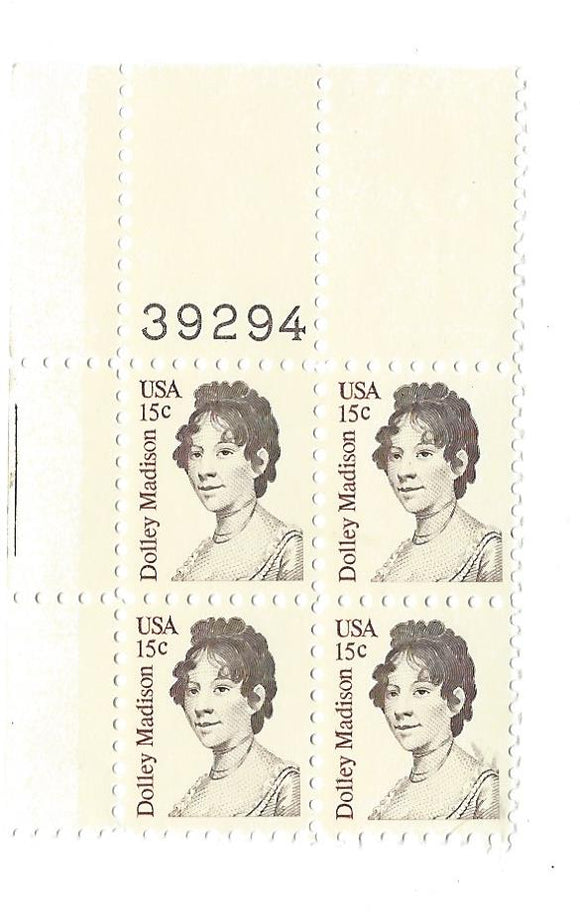 1980 Dolly Madison Plate Block Of 4 15c Postage Stamps - MNH, OG -Sc# 1822`- CX227