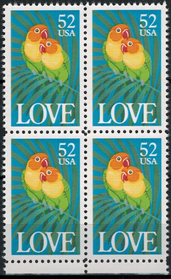 1991 Love Birds Block Of 4 52c Postage Stamps - Sc 2537 - MNH - CW410b