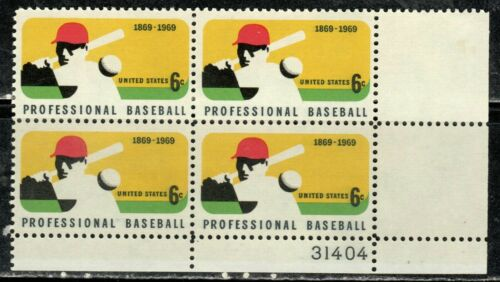1969 Professional Baseball Plate Block Of 4 6c Postage Stamps - MNH, OG - Sc# 1381 - CX362