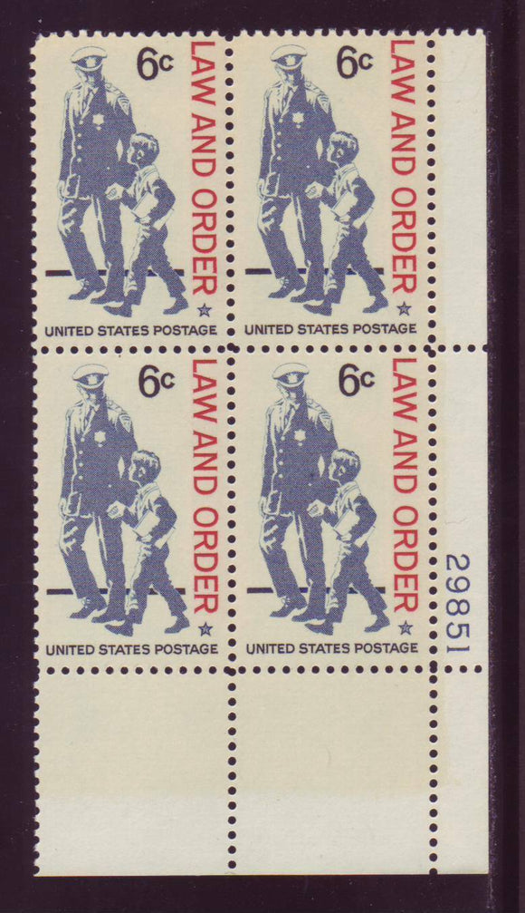 1968 Law and Order Plate Block of 4 6c Postage Stamps - MNH, OG - Sc# 1343