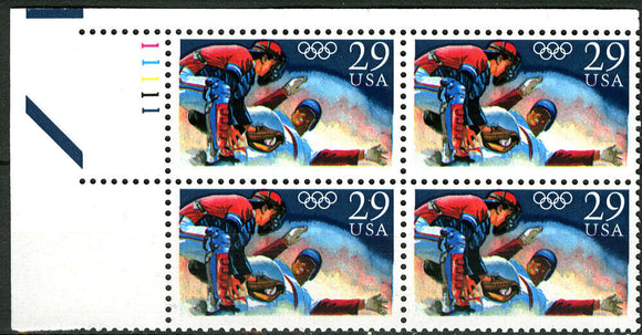 1992 USA Olympic Baseball Plate Block of 4 29c Postage Stamps - MNH, OG - Sc# 2619 - BC31c