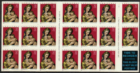1998 Christmas Madonna From 15th Century Florence Pane Of 20 32c Stamps - Sc# 3244 - MNH, OG - CX67