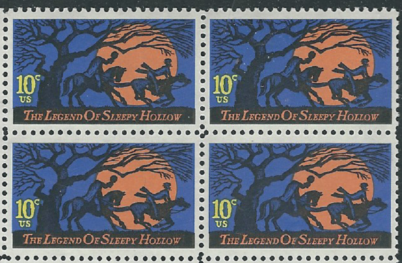 1974 Halloween Legend Of Sleepy Hollow Block Of 4 10c Postage Stamps - Sc# 1548 - CW378