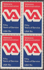 1980 Veterans Administration Block Of 4 15c Postage Stamps - Sc# 1825 - MNH, OG - CW18b
