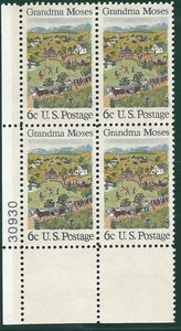 1969 Grandma Moses Plate Block Of 4 6c Postage Stamps - MNH, OG - Sc# 1370 - CX355